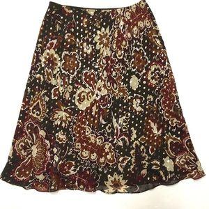 🖤 NWOT Ann Taylor silk fall floral skirt 6 8